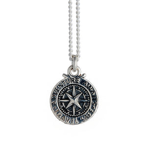 Travel Safe Compass St Christopher Small Silver Necklace