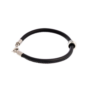 Travel Safe Recycled Silver & Leather Bracelet