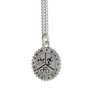 Triathlon Small Swim Bike Run Personalised Silver Necklace