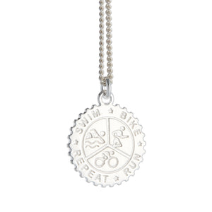 Triathlon Large Swim Bike Run Personalised Silver Necklace