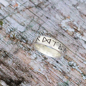 viking norse rune travel ring mens silver symbols past times style