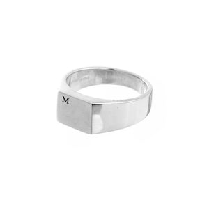Bold Initial Personalised Square Silver Signet Ring