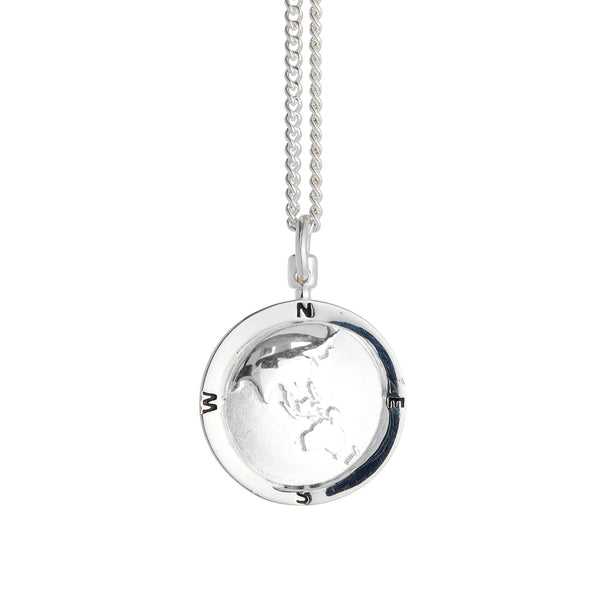 Asia Map Globe Personalised St Christopher - Silver Chain
