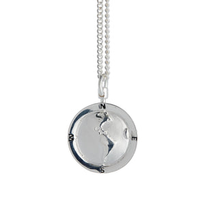 Americas Map Globe Personalised St Christopher - Silver Chain