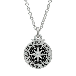 Travel Safe Compass Alternative Non Religious St Christopher Silver Necklace for men & women from Off The Map Brighton