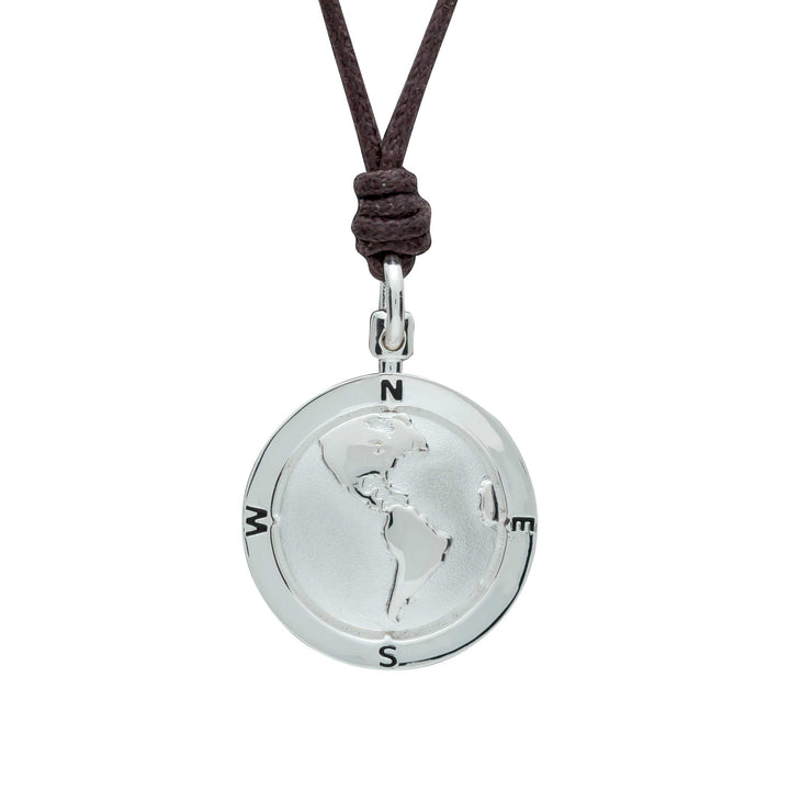 Silver American Map Globe St Christopher Necklace with Vegan Cotton Cord for men or women