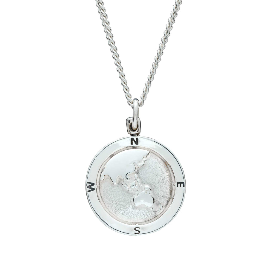 Asia Map Globe Alternative Saint Christopher - Men or Womens Silver Chain engraved on back