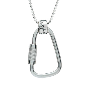 Climbing Carabiner Wanderlust Silver Necklace - traveler pendant for men