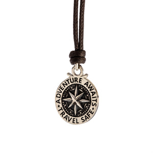 Travel Safe Compass St Christopher Large Silver Necklace