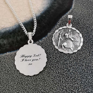 mens womens small silver saint christopher personalised bespoke engraved 18th 21st birthday anniversary gift