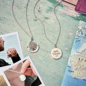 Silver european map globe necklace Off The Map Jewellery alternative silver mans Saint Christopher