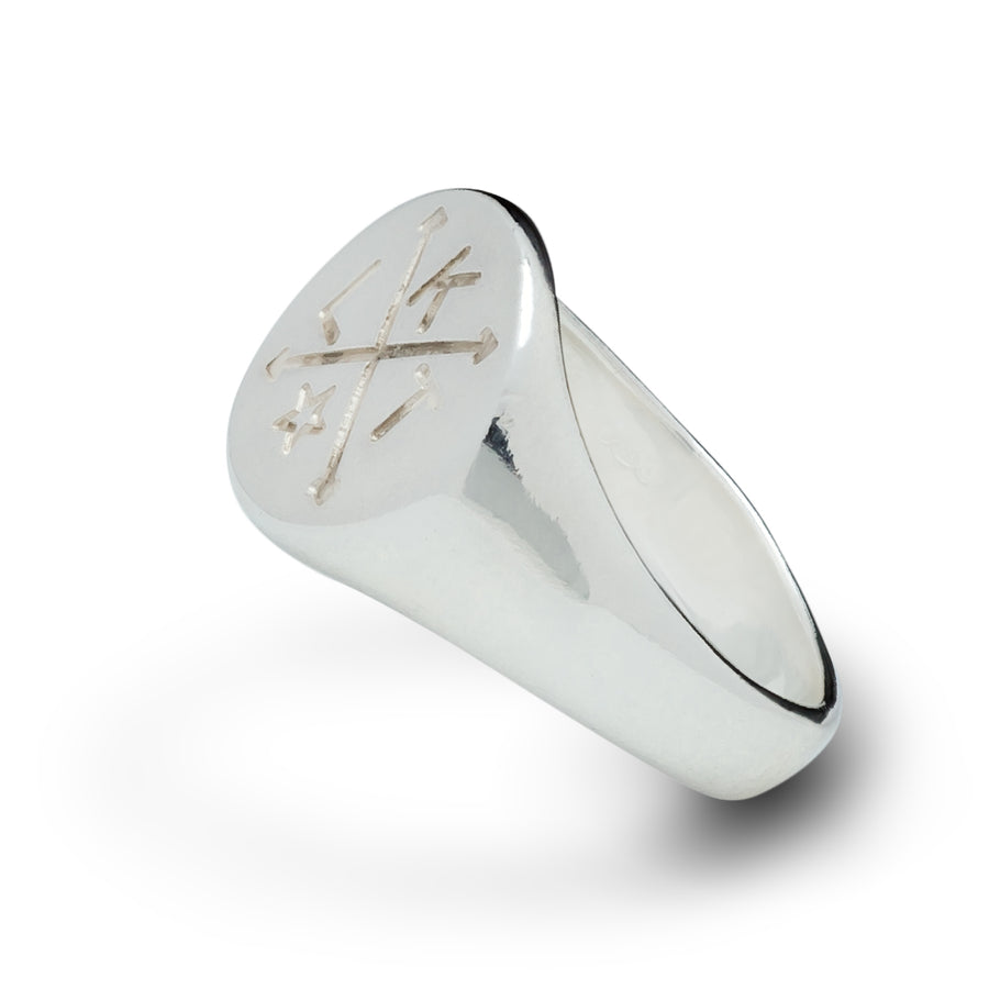 Four Corners Personalized Mens Signet Ring Not Oxidised with intials  From Off The Map Brighton