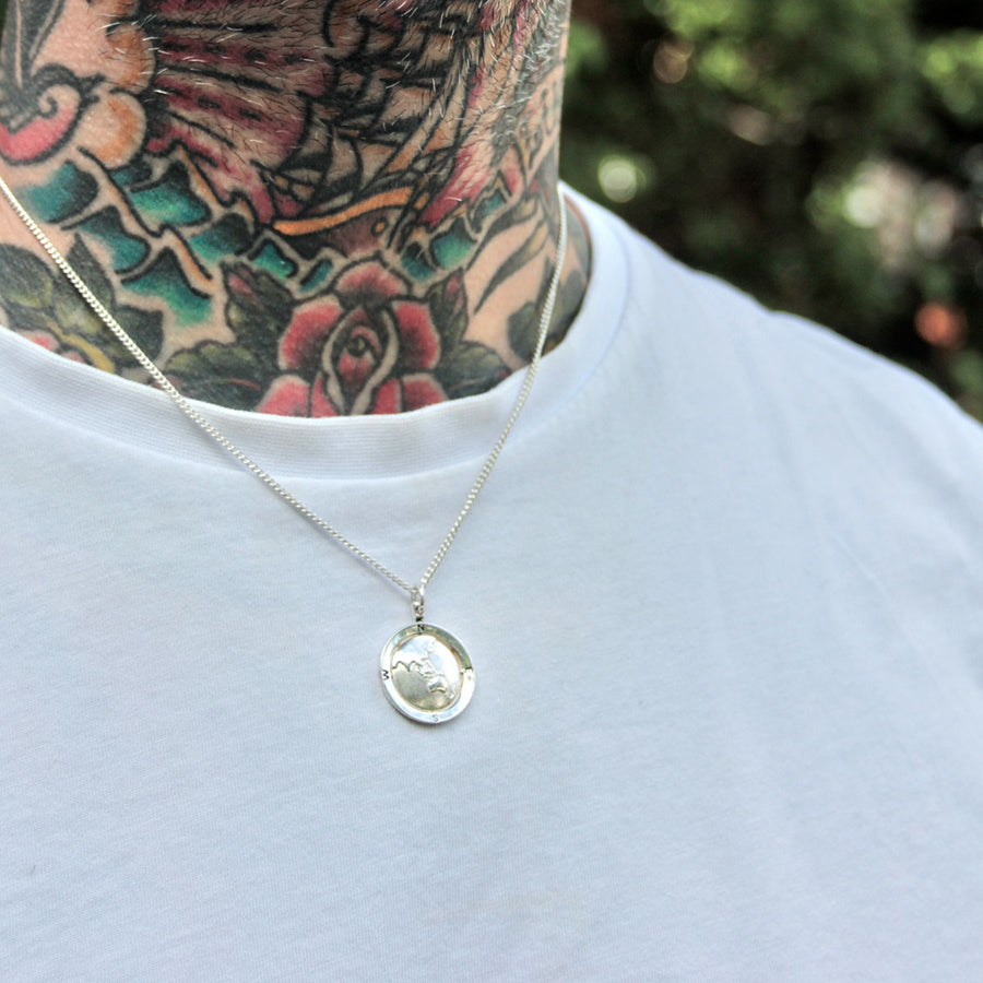 Asia Map Globe Alternative Saint Christopher - Men or Womens Silver Chain engraved message no matter where
