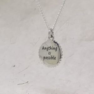 anything is possible quote triathlon engraved gift cog shaped swim bike run pendant