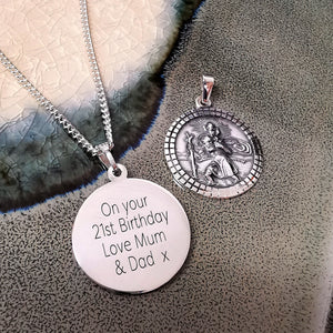 mens 21st birthday 18th birthday saint christopher gift love mum & dad