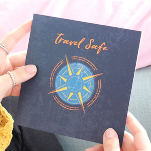Travel safe greetings card 'good luck on your travels' gift card