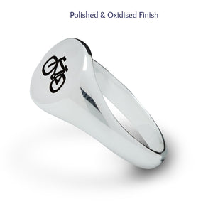 Silver Cyclist Signet Ring for men and women engraved with bike symbol from Off The Map Brighton