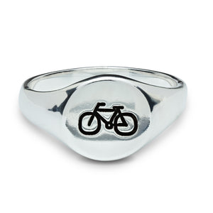 Silver Cyclist Signet Ring for men and women engraved with bike symbol from Off The Map Jewellery Brighton