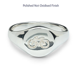 Polished silver mens signet ring engraved with bike symbol