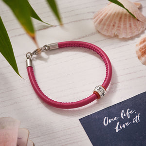 womens red leather bracelet travel gift for going away engraved one life live it