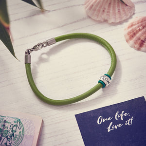 green leather bracelet for a man engraved one life live it