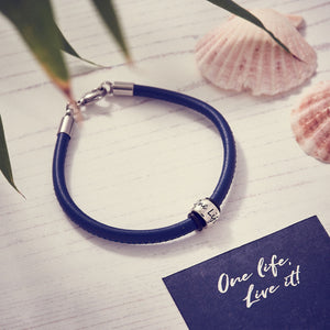 Blue leather & Silver bead charm bracelet engraved One Life Live It for adventurers from Off The Map Brighton