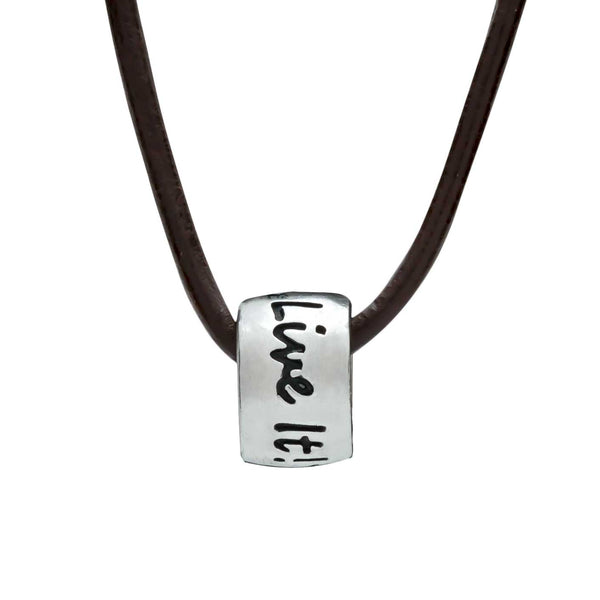 One Life, Live It! Leather or Vegan Cord Necklace gift for travellers