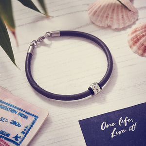 Gray leather & Silver bead charm mens bracelet engraved One Life Live It for adventurers from Off The Map Brighton