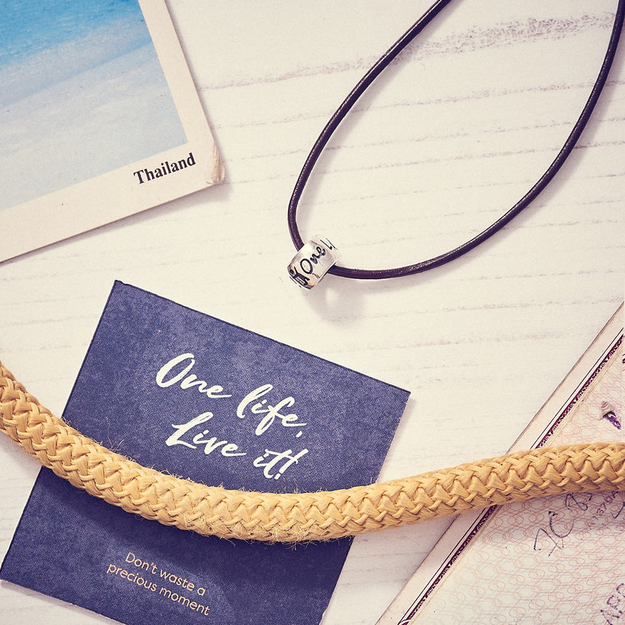 One Life, Live It! mens leather necklace for travellers