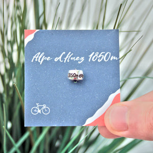 Personalised Silver Travel Country Bead Engraved with mountain altitude, cycle race, hiking. Gift from Off The Map JewelleryBrighton