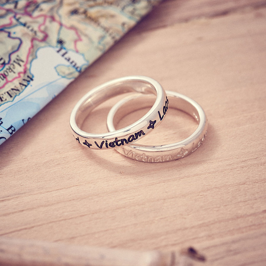 Round The World Personalised Travel Ring, unusual gift for a friend going travelling