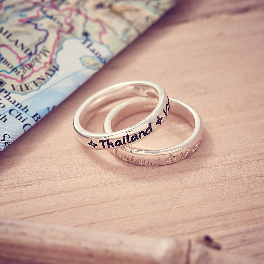 Round The World Personalised Travel Ring, engraved with countries and destinations