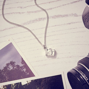 Camera Silver Necklace - Vintage SLR Camera Pendant for photographers and travelers