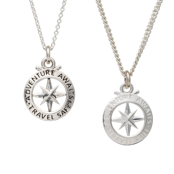Small man's compass necklace alternative to a St Christopher travel gift from Off The Map Jewellery