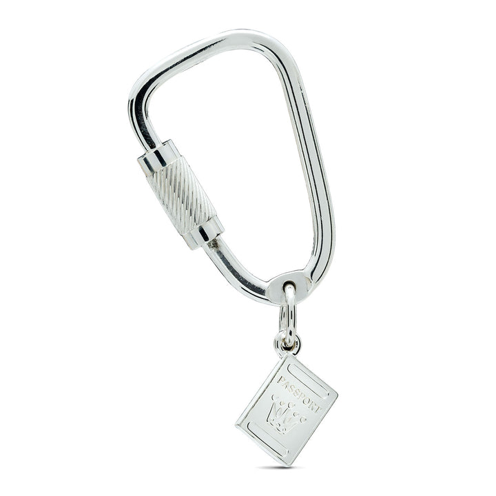 Passport Climbing Carabiner Silver Key Ring - gift for climbers travelers and world explorers