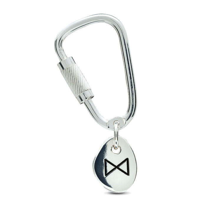 Travel Rune Lucky Silver Keyring with working silver Carabiner Climbing lock from Off The Map Jewellery Brighton