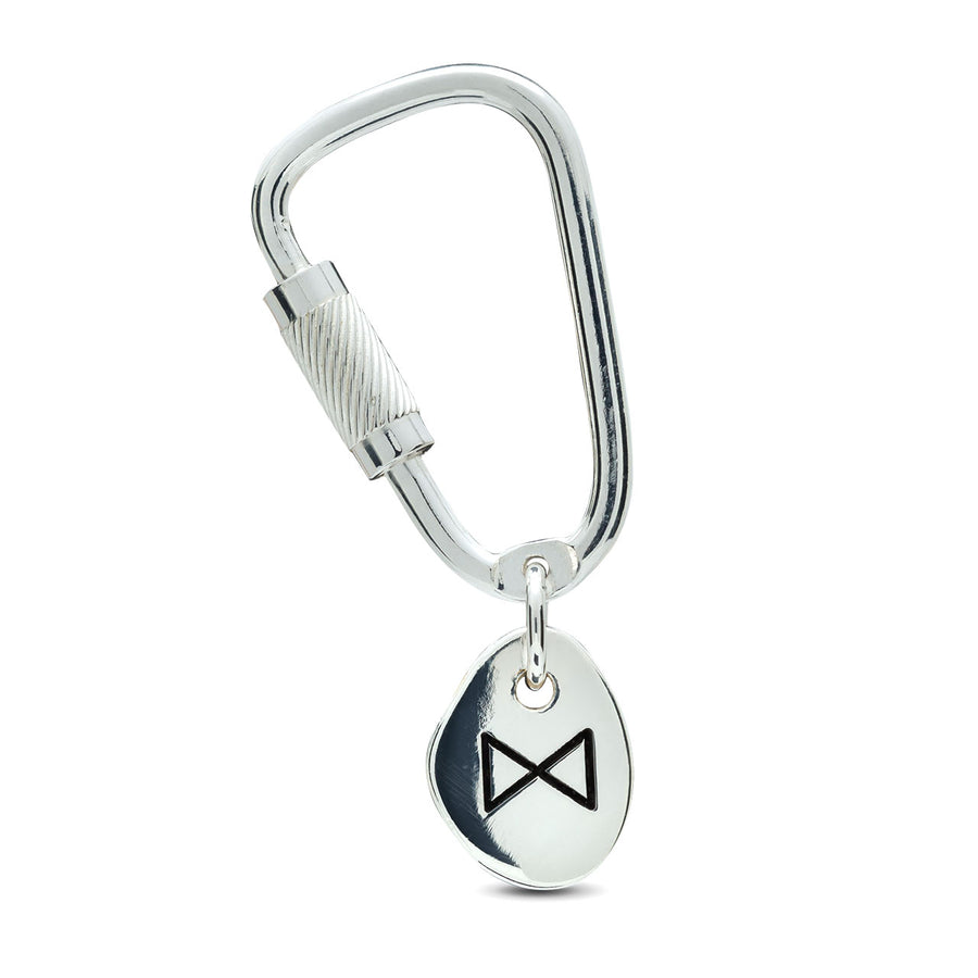 Travel Rune Lucky Silver Keyring with working silver Carabiner Climbing lock from Off The Map Brighton