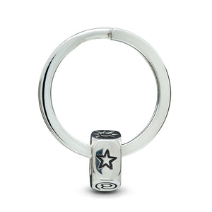 Alternative gap year gift for travellers - chunky silver keyring engraved with initials - alternative to St. Christopher from Off The Map brighton