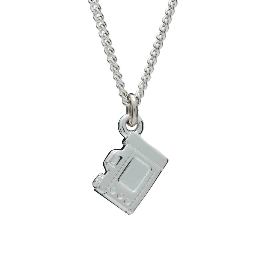 Camera Silver Necklace - Vintage SLR Camera Pendant screen side curb chain