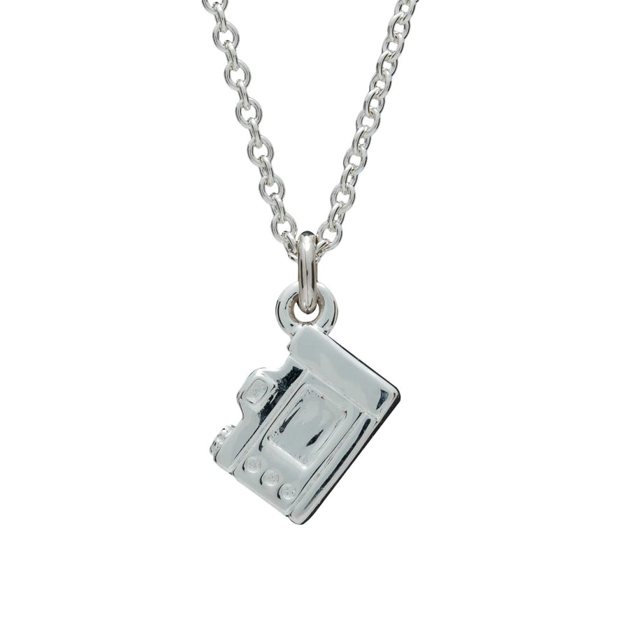 Camera Silver Necklace - Vintage SLR Camera Pendant screen side trace chain