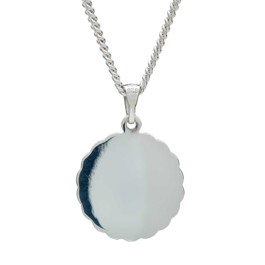 St Christopher Ellipse Border Silver Necklace