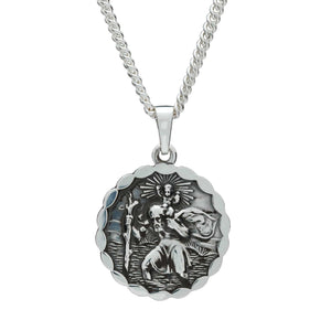 Saint Christopher Ellipse Border Pendant - Silver St Christopher Mens Necklace