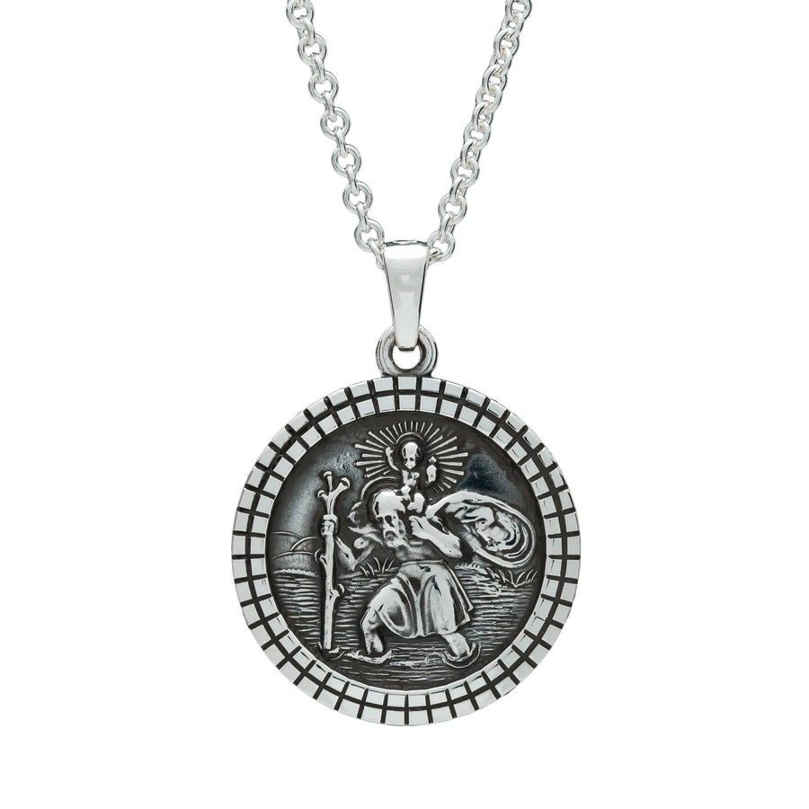 St Christopher Mosaic Border Silver Necklace - Womens solid silver saint christopher pendant