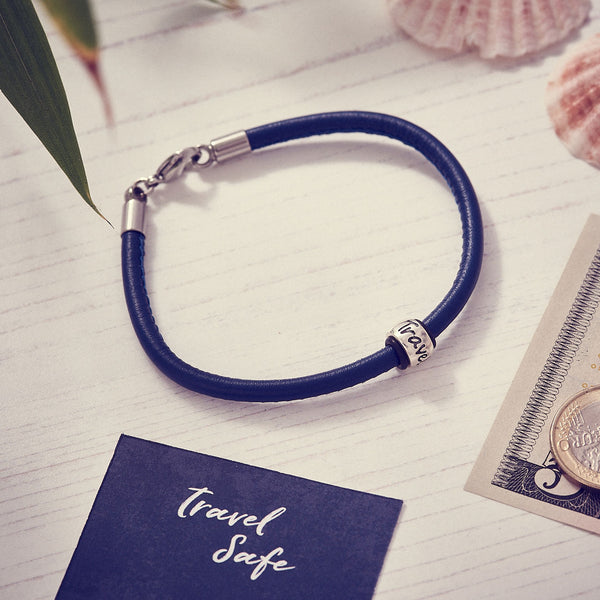 Travel Safe Silver & Italian Stitched Leather Bracelet Navy Blue - alternative travel gift from Off The map Brighton