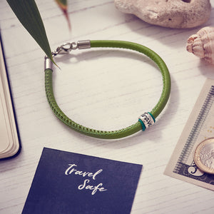 Travel Safe Silver & Italian Stitched Leather Bracelet Green - alternative travel gift from Off The map Brighton