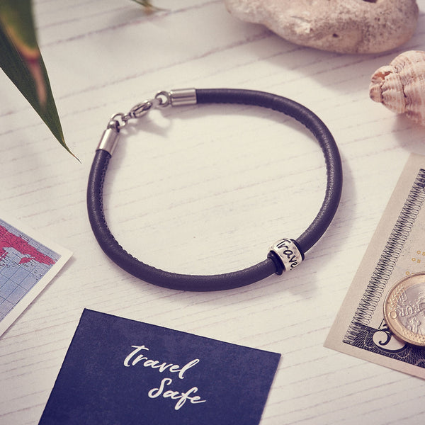 Travel Safe Silver & Italian Stitched Leather Bracelet Black - alternative travel gift from Off The map Brighton