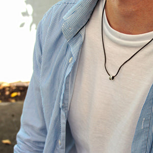 Travel Safe Silver & Leather Necklace for men & women - gift for someone going travelling