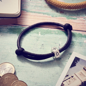 Vegan Traveller Silver Sliding Knot Cotton Bracelet - Engrave with Initials or Symbols, from Off The Map Jewellery Brighton