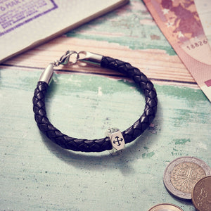 Chunky mans leather bracelet with silver travel charm, unique gift for a man going away travelling