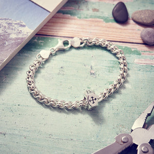 Traveller Keepsafe chunky men's bracelet, solid silver chain with travel charm handmade UK